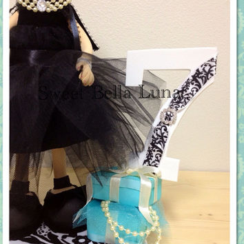 Breakfast at Tiffany's  Birthday Centerpiece / Cake Topper   Audrey Hepburn party decor