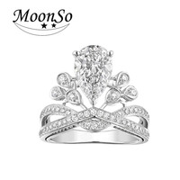 925 Sterling Silver Rings For Women Round Shaped CZDiamond Rings Luxury White Round Cut Wedding Engagement Jewelry R1722S