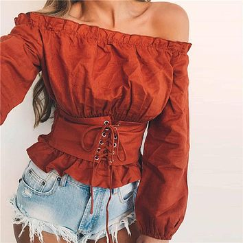 High Street Womens Tops and Blouses Lace up Satin Corset Blouse Lantern Sleeve Women Off Shoulder Top Corset Shirt Blusa Mujer