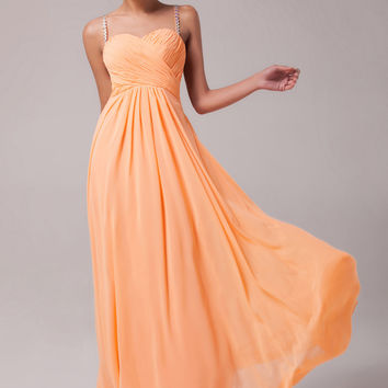 Orange Strappy Beaded Criss Cross Cutout Back Chiffon Evening Dress
