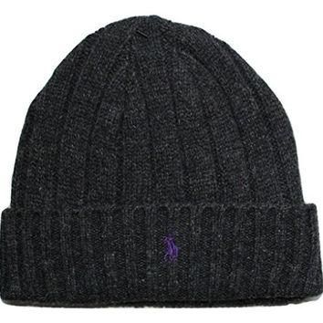 Polo Ralph Lauren Lambs Wool Beanie Hat Cap-Dark Gray/Purple