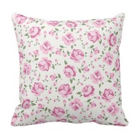Hot pink,floral,girly,trendy,vintage,pattern,cute, throw pillows