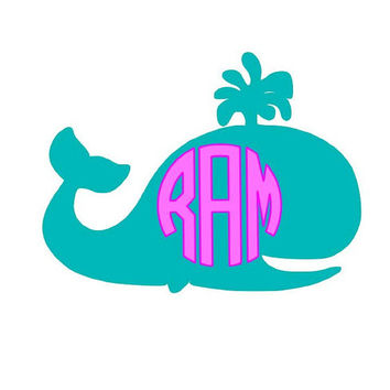 Your Choice Two Color Monogram Whale Decal
