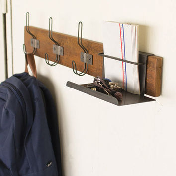 Recycled Wood And Wire Coat Rack with Organizer