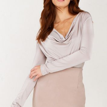 Deep Cowl Neck Bodysuit in Mauve, Black and Stone