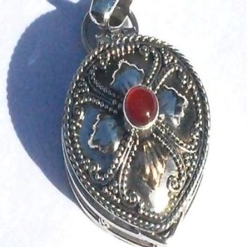 Sterling Silver Tear Carnelian and Gold Accent Prayer Box Pendant