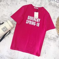 """Givenchy"" Unisex Loose Casual Fashion Mirror Letter Logo Print Couple Short Sleeve T-shirt Top Tee"