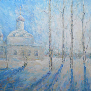 "Oil paintings ""Winter landscape. Temple."" Impasto, Church, Winter, Russian nature, Winter Church, Still Life, Modern Art, Gift, Mothers Day"