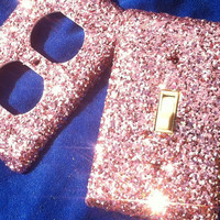 Pink Popsicle Glitter Switchplate / Oulet Cover Set of Two