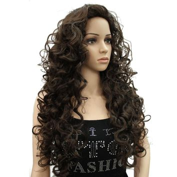StrongBeauty Blonde/Black Long Curly Synthetic Full Wig 9 Color