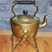 Antique William Soutter & Sons Copper Tea Kettle with Warming Stand