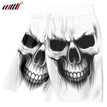 asual Shorts White Summer Men 3d Print Skull Beachshorts