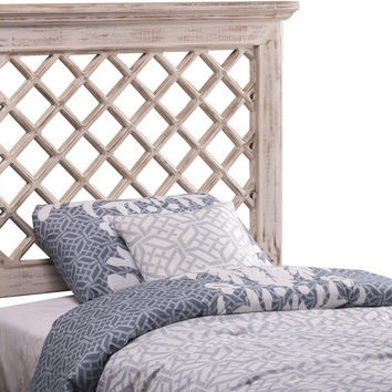 1843 Kuri Headboard - Full/Queen - Rails Included - Distressed White Finish - Free Shipping!