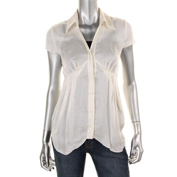 Catherine Malandrino Womens Silk Button-Down Blouse