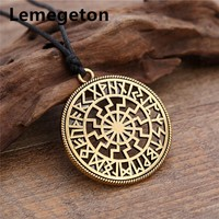 Lemegeton 24 Viking Tailmen Norse Runes Pagan Amulet Round Mixed Color Charms Wax Cord 45+5cm Rope Chain Necklaces Accessories