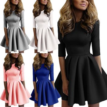 Fashion Women Petal Wave Pleated A-line Dress Half Sleeves Slim Fit Party Dresses FS99