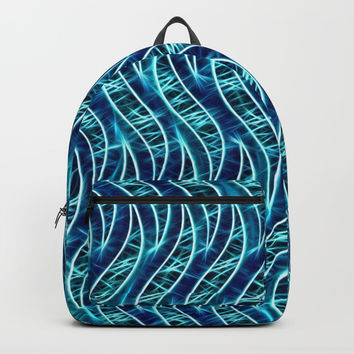 Static - Electrify me, light splashes, dark blue waves pattern, geometric abstraction theme line art Backpacks by Casemiro Arts - Peter Reiss