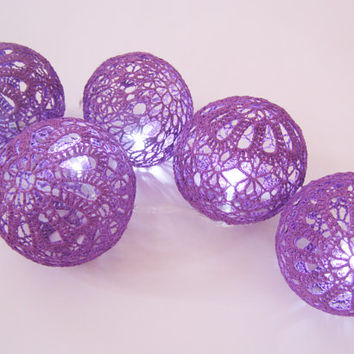 Party Lighting, Holiday Lights, Bedroom Decor lamps, Fairy Lights, String Lights, 20 Crocheted Lilac balls , garland light