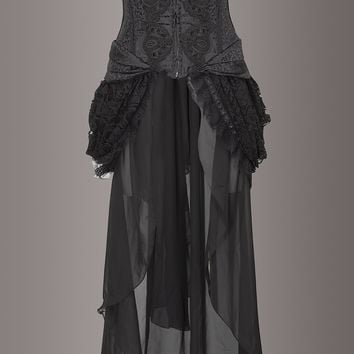 Black Brocade Lace Burlesque Bustle Skirt