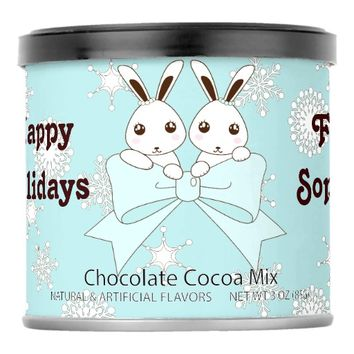Cute Bunny Twins and Snowflakes Pastel Blue Hot Chocolate Drink Mix