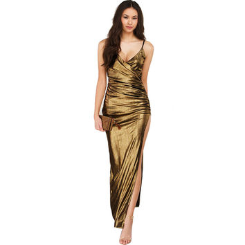 Metallic Gold Slit Maxi Dress