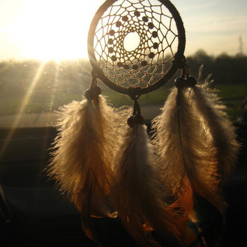 Brown Orange Car Dream Catcher Brown Car Dreamcatcher Rear Mirror Dream Catcher Native American Hanging Small Dream Catcher for Car