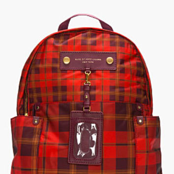 Marc By Marc Jacobs Red Nylon Preppy Aimee Plaid Backpack for women | SSENSE