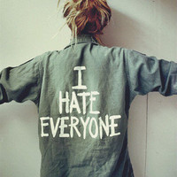 Jac Vanek 'I HATE EVERYONE' Vintage Army Jacket
