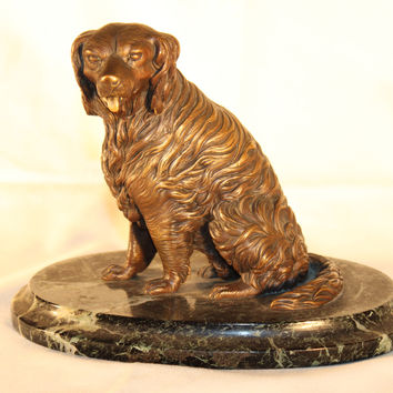 Bronze Sculpture of a Dog on Green Marble Base