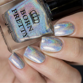 BORN PRETTY Holographic Nail Polish 10ml Holo Glitter Nail Varnish Hologram Rainbow Nail Art Enamel Decoration H002 1 Bottle