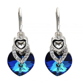 Gold Layered Long Earring, Heart Design, with Swarovski Crystals and Cubic Zirconia, Rhodium Tone
