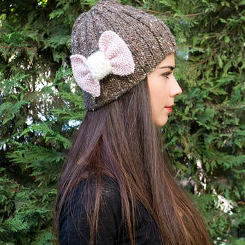 Hand Knit Beanie Hat, Womens beanie in light chestnut with, or without pink bow, Winter Beanie, Women's Hat , Wool knit Beanie