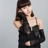 2016 hot new arrival high quality  fingerless gloves Sexy Women Lace Flower Fashion Vintage Shading Long Fingerless Arm Warmers