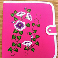 Hand Painted Pink Tablet Case With Purple Flowers