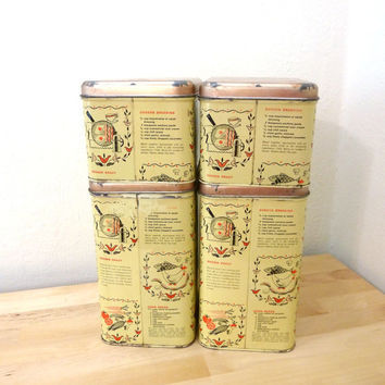 Vintage Metal Canister Set / Recipe Print Tins / Metal Storage Tins / Tea and Coffee Canisters / Light Yellow Containers