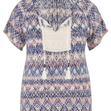 plus size chevron patterned peasant top with lace