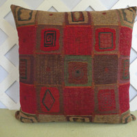 Geometric Pillow Cover w/ Squares in Red Tan and Brown /  Color Blocks Pillow / Accent Pillow / Red Pillow / Decorative Pillow