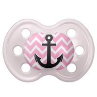 Pink Chevron and Anchor Pacifier from Zazzle.com
