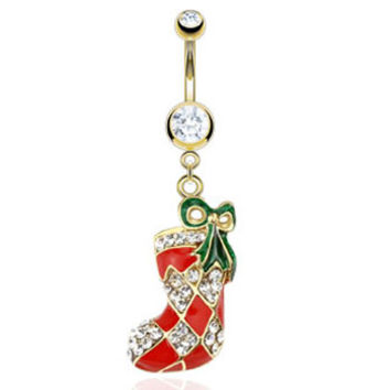 Gold Plated Christmas Belly Button Ring with Dangling Stocking