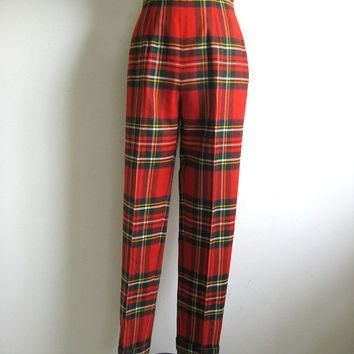 Vintage 1980s Wool Pants Ralph Lauren Red Wool Plaid Tapered Trousers 8