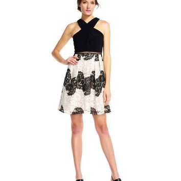 Adrianna Papell AP1E201113 Two-Piece Halter Dress in Black/Ivory