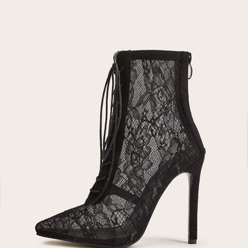 Point Toe Lace-up Front Stiletto Heeled Boots