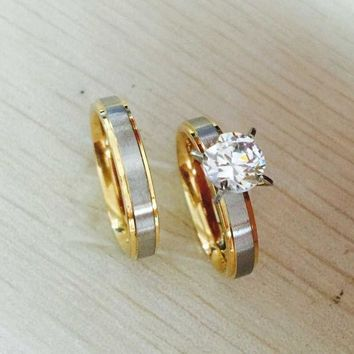 ICIKF4S 4mm titanium Steel CZ rhinestone Korean Couple Rings Set for Men Women Engagement Lovers,his and hers promise,2 tone gold silver