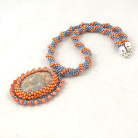 Crochet beads rope necklace orange and gray with pendant, fashion jewelry, seed beads jewelry, beadwork