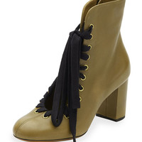 Chloe Lace-Up Leather Ankle Boot