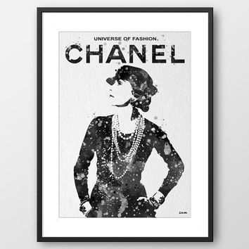 Coco Chanel Quote Typography Fashion Dress Watercolor illustrations Art Home Decor Wall Hanging Watercolor print Painting Large (No A053)