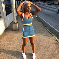 Sexy Women 2 Two Piece Set Summer Denim Skirt Set Sleeveless Jeans Crop Top + Mini Skirt Suit Blue Denim Matching Set Outfit OL
