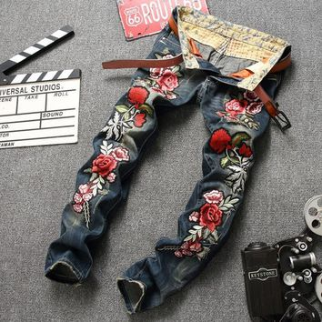Men's Rose Embroidery Patch Jeans Hole Design Men Casual Straight Fit Ripped Vintage Denim Pants #0791