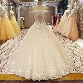 LS8005 bridal dresses 2017 lace up back beading crystal ball gown sweetheart elegant wedding gowns for bridal real photos