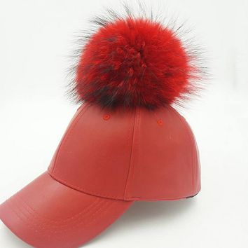 Plain raccoon fur ball pu hip hop baseball cap Korean version of casual leather hat spring and summer outdoor curved eaves visor